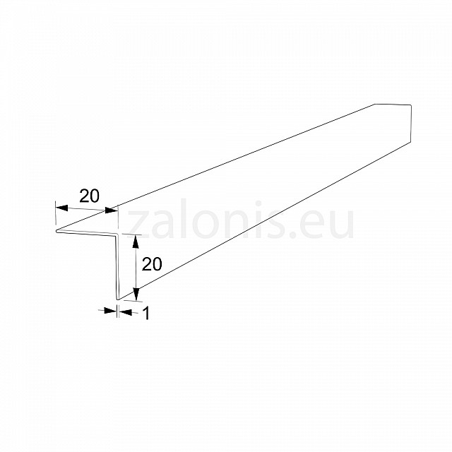 PLASTIC ANGLE PROFILE 20x20 WHITE 260cm